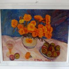 CONSTANTIN MITROESCU {1925-2004} ''Flori de toamna'', ulei pe carton, 76x63 cm - Pictor roman, An: 1970, Altul