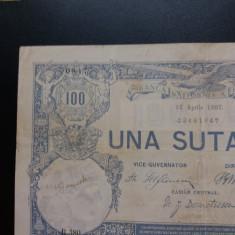 Bancnote romanesti 100 lei 1907 xf - Bancnota romaneasca