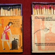 Butelii de aragaz - chibrituri romanesti 1962-1969, cutii din lemn