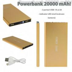 Acumulator extern PowerBank, 20000mAh, USB, ultraslim - Baterie externa