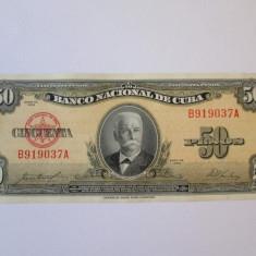 Rara! Cuba 50 Pesos 1958 in stare foarte buna - bancnota america