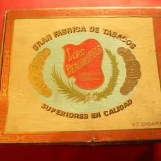 Cutie pt Trabucuri- Lord Beaconsfield R.Dominicana ,carton ,dim.=20x16x8cm