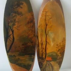 Superb lot de 2 tablouri ovale,pictate pe lemn,Toamna,stare perfecta,de decor..