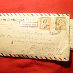 Plic circ. Par Avion Wellington -Bucuresti ,Recomandat ,Noua Zeelanda ,cu scriso