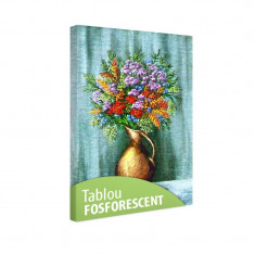 Tablou fosforescent Flori de munte in vaza de lut - Tablou canvas