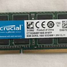 Memorie notebook Crucial 8GB, DDR3, 1600MHz, CL11, 1.35v - Memorie RAM laptop
