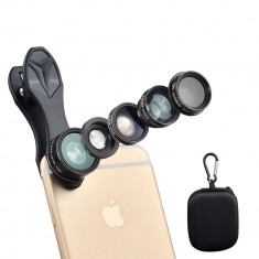 Set lentile profesionale smartphone 5 in 1 - Macro, Fish-eye,Wide Angle