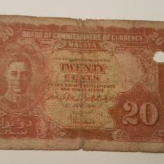 MALAYA 20 CENTI 1941 deteriorata