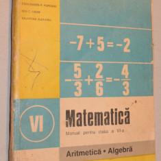 Manual matematica, aritmetica, algebra pentru clasa a VI -a, 1994 - Manual scolar, Clasa 6