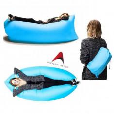 Sezlong gonflabil tip sac, umflare rapida cu ajutorul vantului