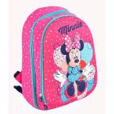 Ghiozdan Minnie Mouse 3D, clasele 1-4, roz cu buline colorate, Pigna