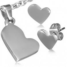 Set din oţel - pandantiv şi cercei cu şurub, inimi asimetrice - Cercei inox