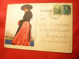 Ilustrata -Costum Popular din Steiermark - Germania 1937 circulat timbre Ungaria, Circulata, Printata
