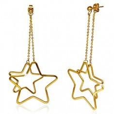 Cercei aurii, cu şurub, din oţel inoxidabil - conturul a două stele - Cercei inox