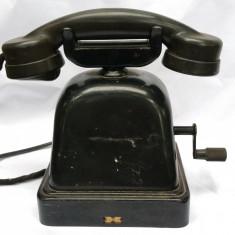 TELEFON VECHI DE BACHELITA CU COARBA PENTRU INTERIOR ȘI BIROU - 1930