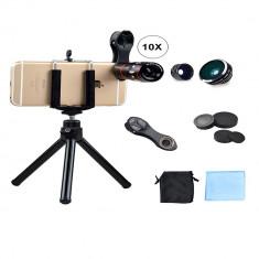 Set lentile profesionale pentru telefon 10x cu trepied si clema de prindere