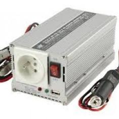 Invertor de tensiune 24V-230V, 300W, iesire USB 5V, pin de pamantare, HQ-INV300WU24F