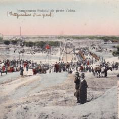 MUNTENIA ALEXANDRIA INAUGURAREA PODULUI DE PESTE VEDEA CIRCULATA 1909 - Carte Postala Muntenia 1904-1918, Printata
