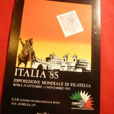 Ilustrata - Reclama - Expozitia Mondiala Filatelie Roma 1985