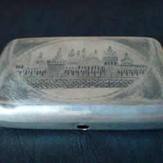 Tabachera argint Rusia nielo (niello) - Tabachera veche