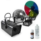 SET - bile disco stroboscop și reflector multi-color, aparat pentru producerea ceții, Lichid pentru mașini de fum - Lumini club