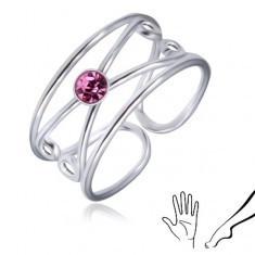 Inel din argint 925 - zirconiu rotund violet-deschis, buclă dublă - Inel argint