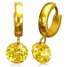 Cercei verigă aurii, din oţel, cu zirconiu - Cercei inox