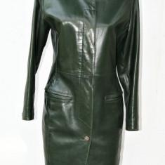 Haina din piele naturala Claude Montana Paris - Geaca dama, Marime: M, Culoare: Verde