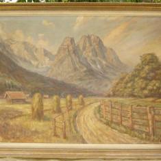 Tablou pictura Peisaj rustic de munte ulei pe panza 60x74 cm - Pictor strain, Peisaje, Realism