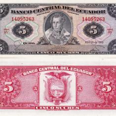 ECUADOR 5 sucres 1983 UNC!!! - bancnota america