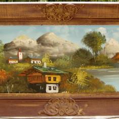 Tablou pictura Peisaj america de sud ulei pe panza 46x106 cm - Pictor strain, Peisaje, Realism