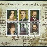 MOLDOVA 2000 - MIHAI EMINESCU, 150 DE ANI DE LA NASTERE - BLOC NESTAMPILAT - MNH / moldova23