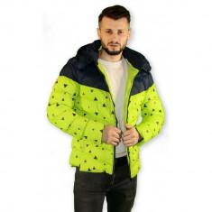 Geaca Barbati Cu Gluga Detasabila Tip Zara Toamna-Iarna, Marime: XL, Culoare: Verde, Poliester