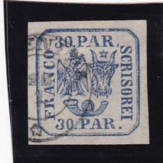 1862 LP 10 PRINCIPATELE UNITE EMISIUNEA I-30 PARALE ALBASTRU POINCON L. PASCANU - Timbre Romania, Stampilat