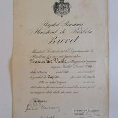 Rar!Brevet de inaintare la gradul de capitan jandarmi semnat de g-lul L.Mircescu