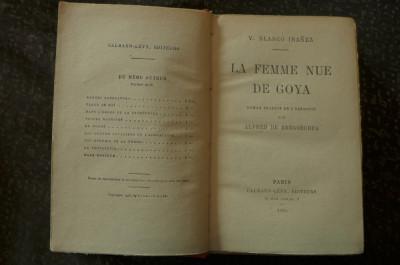 La femme nue de Goya  de V. Blasco-Ibanez  Ed. Calmann-Levy Paris 1926 foto