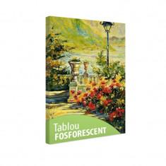 Tablou fosforescent Terasa cu flori de toamna - Tablou canvas