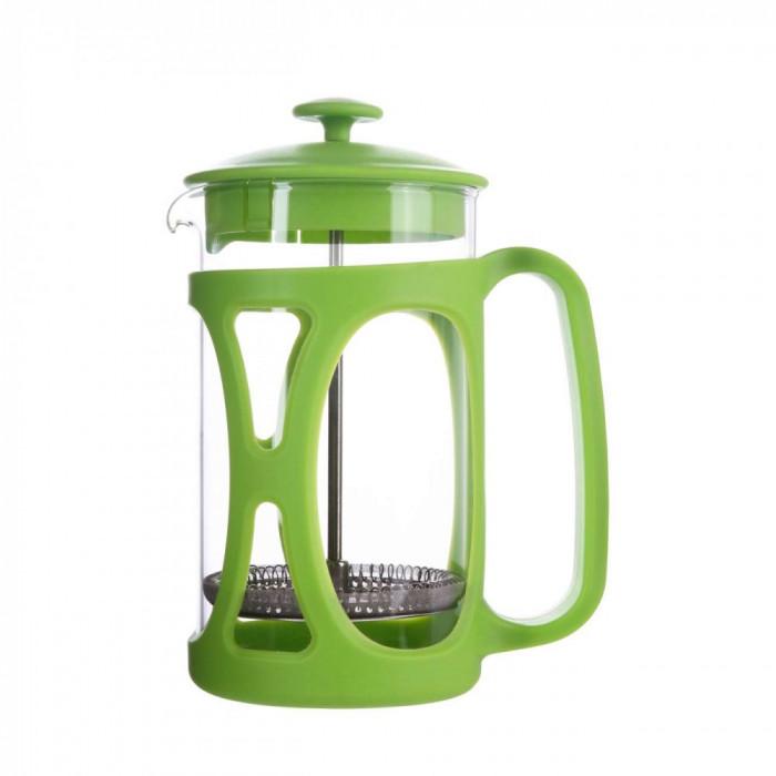 Infuzor ceai si cafea sticla, sapir, capac, maner si rama din plastic, 350 ml, verde foto mare