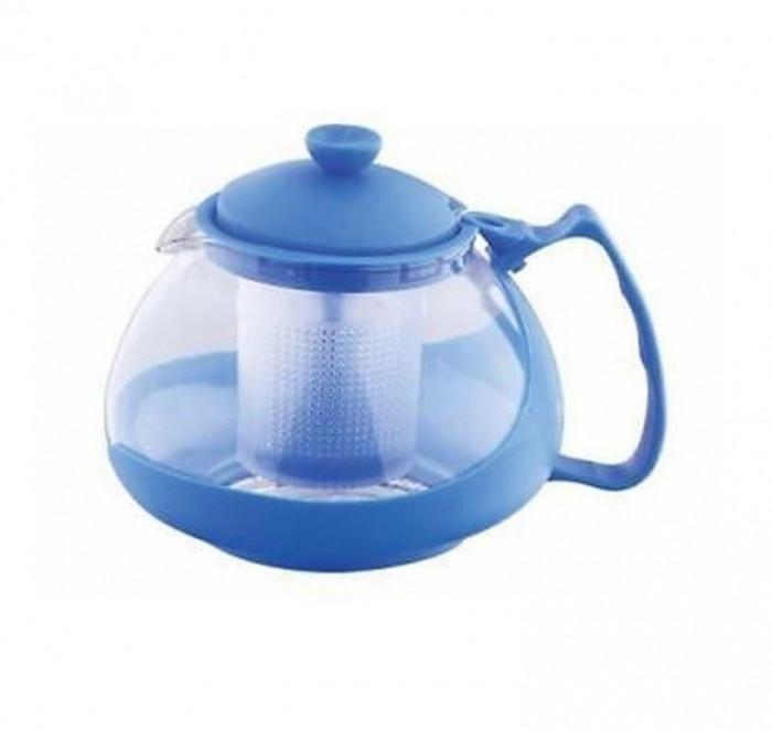 Infuzor ceai si cafea sticla, renberg, capac, maner si rama din plastic, 750 ml, albastru foto mare