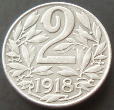 Moneda 2 Heller - AUSTRIA, anul 1918  *cod 1979  UNC ZINC foto