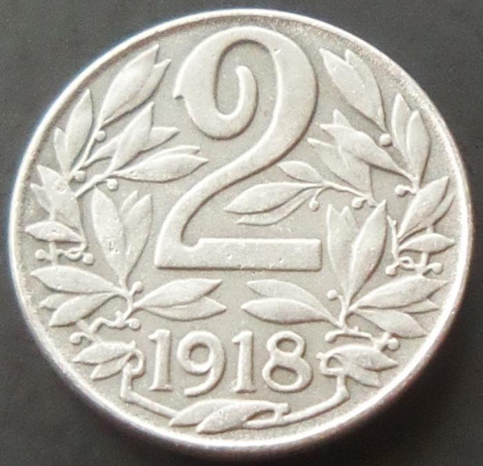 Moneda 2 Heller - AUSTRIA, anul 1918  *cod 1979  UNC ZINC foto mare