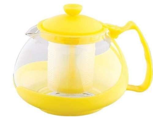 Infuzor ceai si cafea sticla, renberg, capac, maner si rama din plastic, 750 ml, galben foto mare