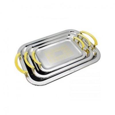 Tavi cromate argintii cu manere aurite, set 3 bucati, zephyr foto