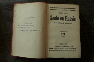 Seule en Russie  de Andree Viollis  Ed. Gallimard Paris 1927 foto