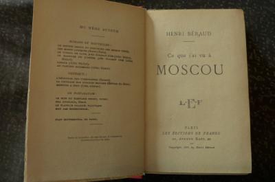 Ce que j'ai vu a Moscou  de Henri Beraud  Ed. de France 1925 foto