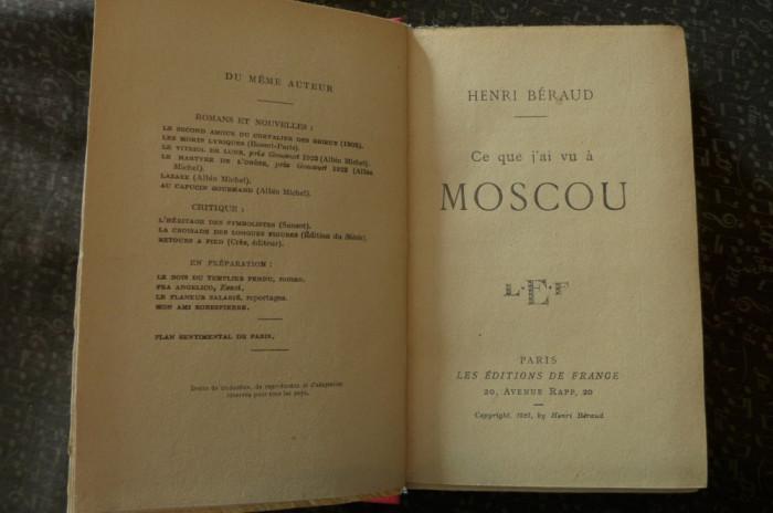 Ce que j'ai vu a Moscou  de Henri Beraud  Ed. de France 1925 foto mare