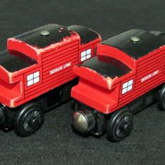Thomas and Friends ✯ Wooden Railway ✯ 2 x SODOR LINE CABOOSE ✯ Magnetic Vagons - Trenulet, Locomotive