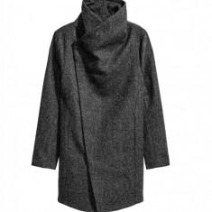 Palton Barbati Casual Elegant Lung Slim Lana Gri Tweed Fashion Urban Guler Inalt, Marime: S, M, L, Bumbac
