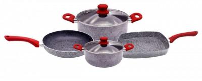 Set 2 cratite cu capace 20 cm, 24 cm, tigaie cu capac 24 cm, grill 28 cm, ceramice, zephyr foto