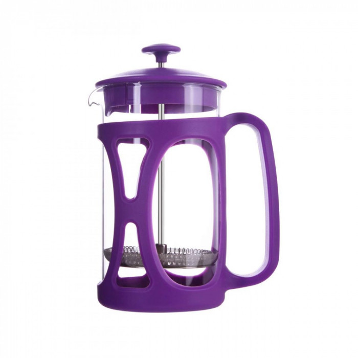 Infuzor ceai si cafea sticla, sapir, capac, maner si rama din plastic, 600 ml, mov foto mare
